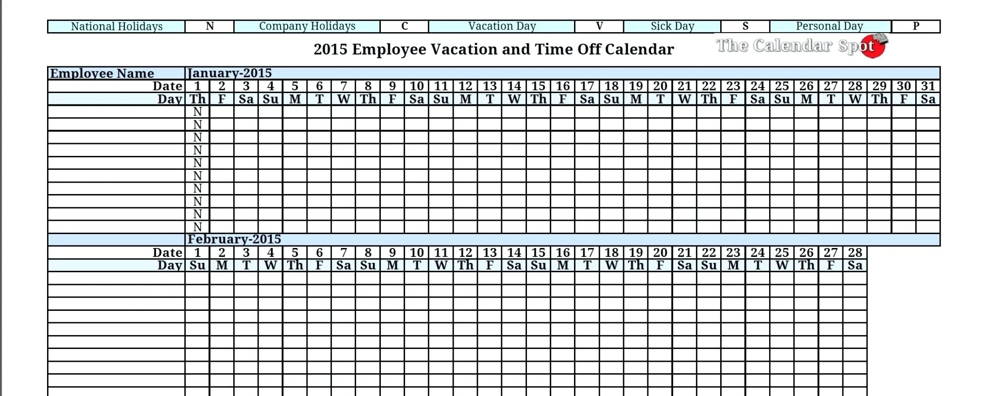 Template Excel Vacation Calendar Template3abry