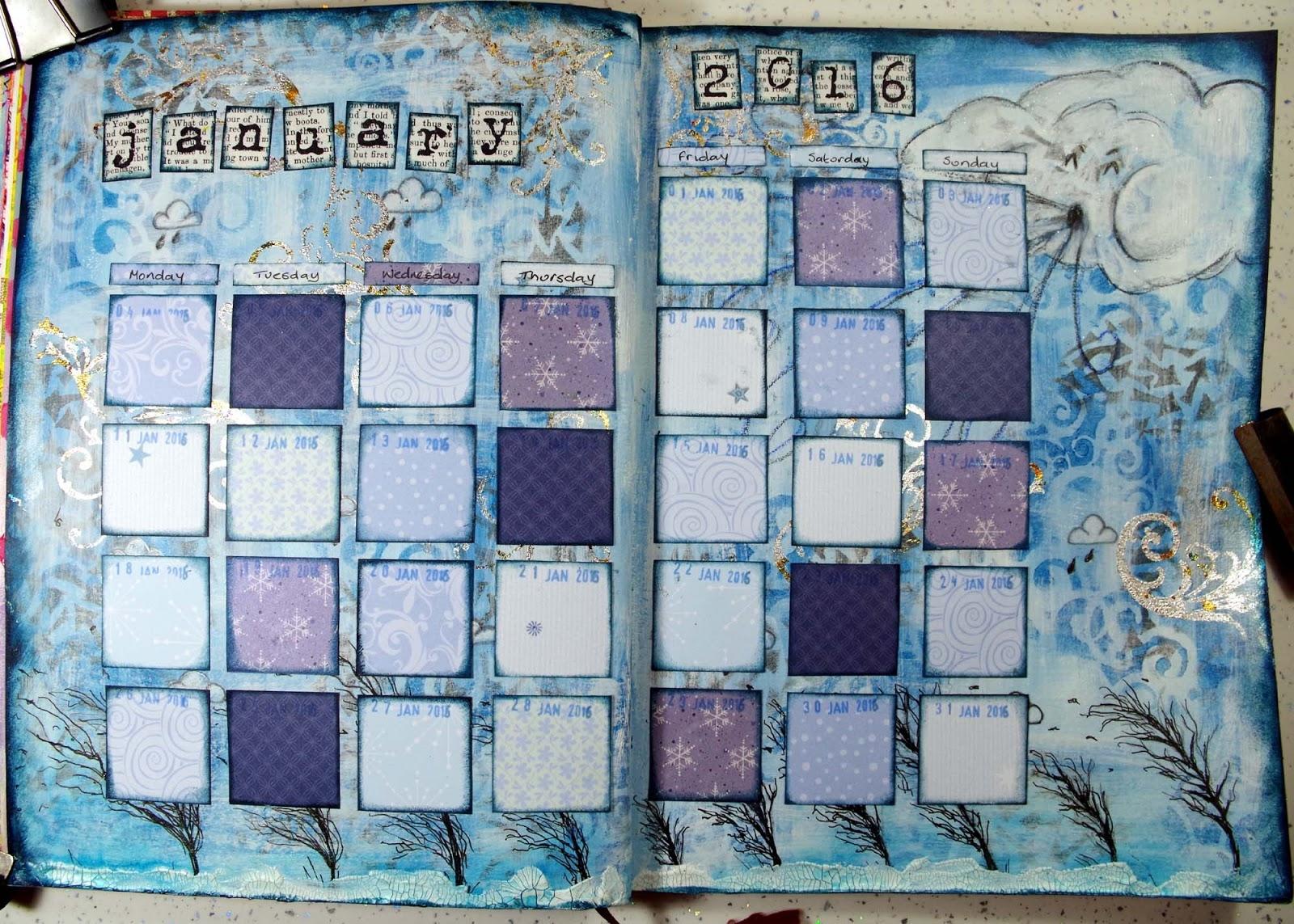 The Hob Room Michelle Webb Calendar Art Journal January 2016 89uj