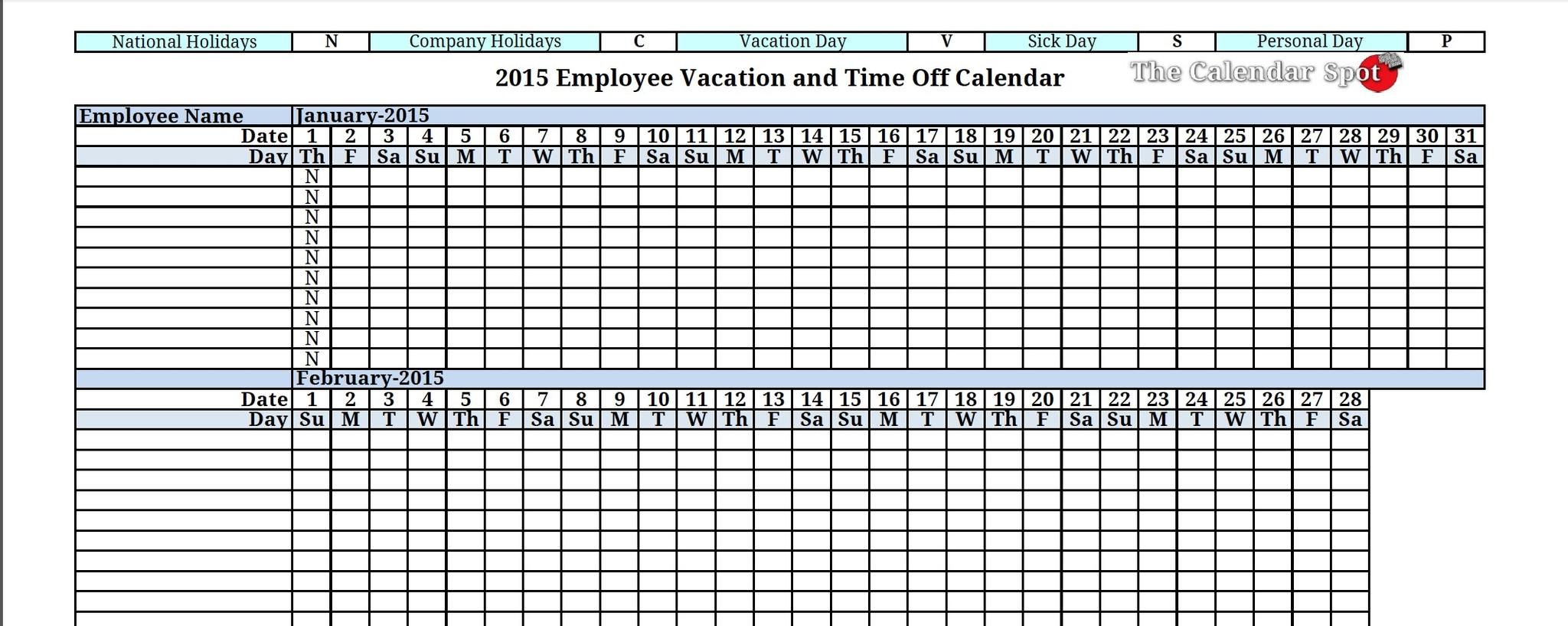 Vacation Calendar Template 2015 Endore Enhance Dentalco 89uj