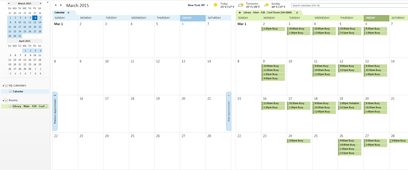 View Meeting Room Calendar In Outlook 2013