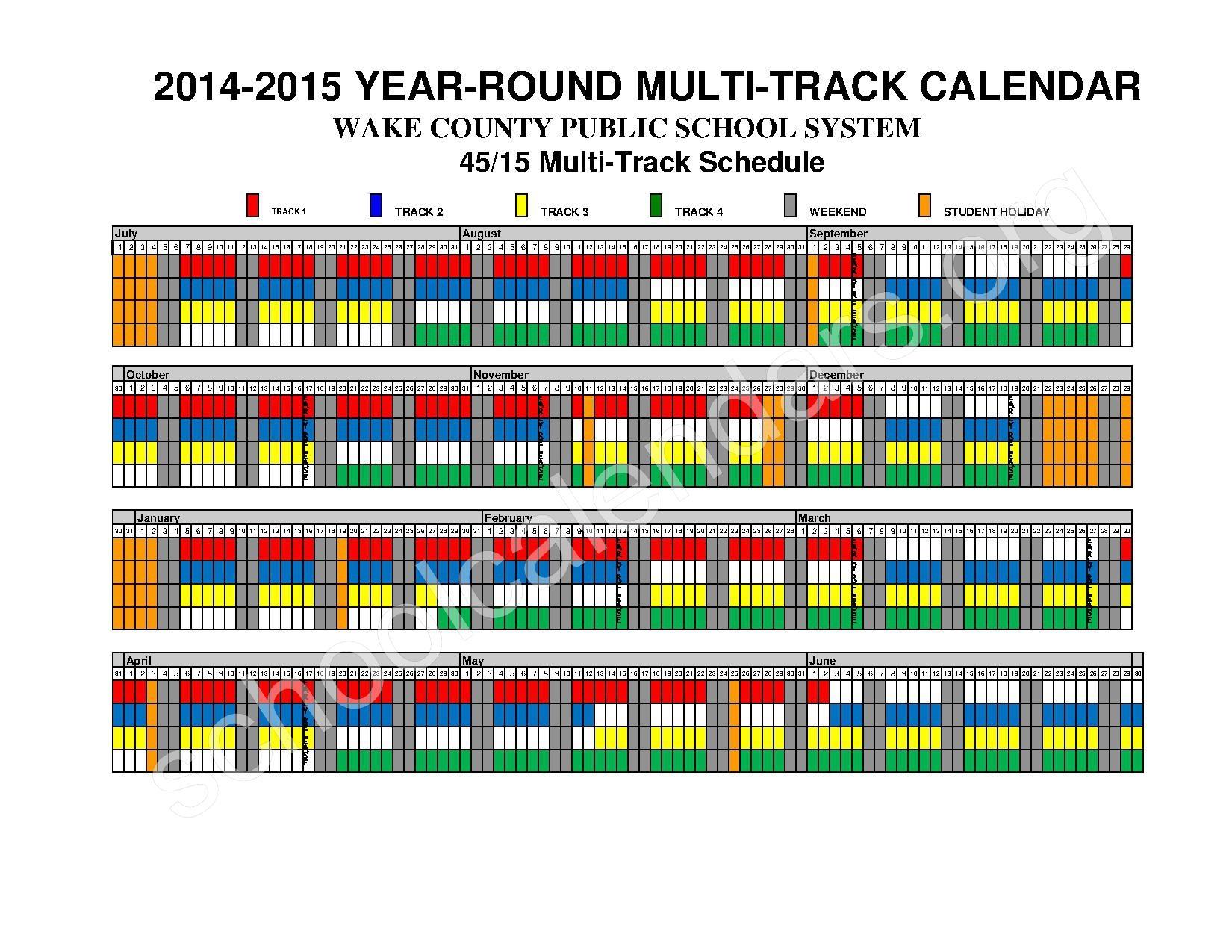 Wake Year Round Calendar Blank Calendar Design 2018
