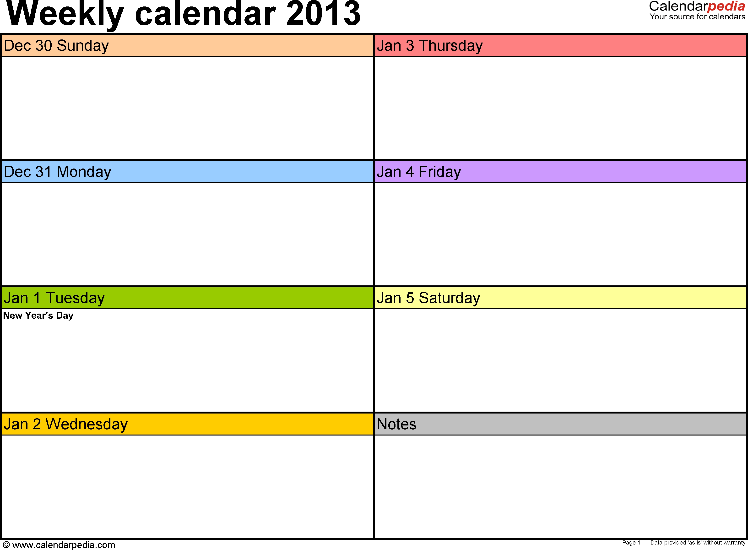 Weekly Calendar 2013 For Pdf 4 Free Printable Templates