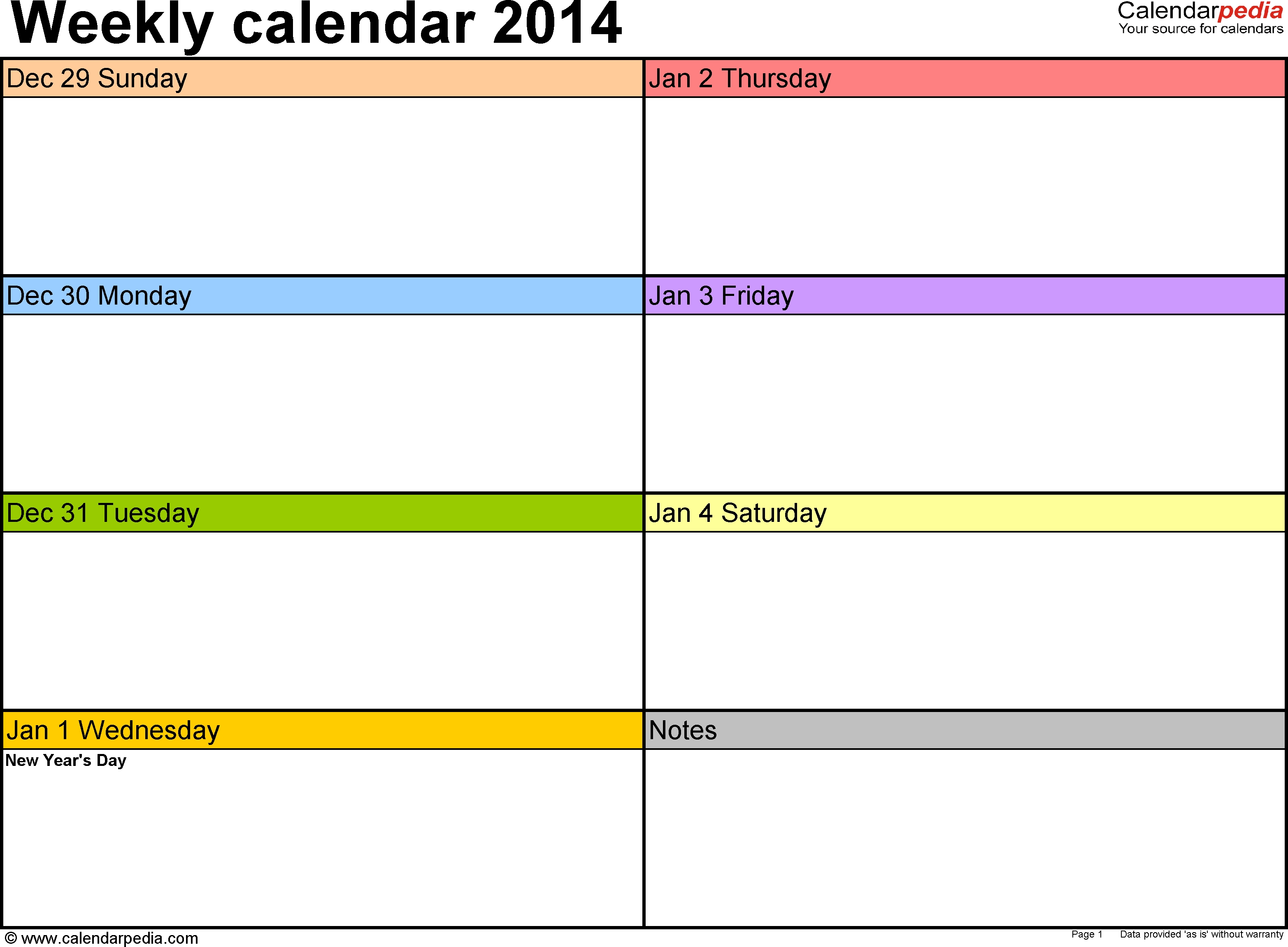 Weekly Calendar 2014 For Excel 4 Free Printable Templates