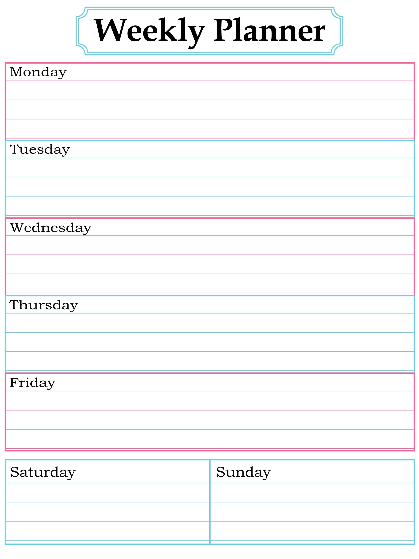 Weekly Planner Printable Nice Simple Clean Lines School3abry