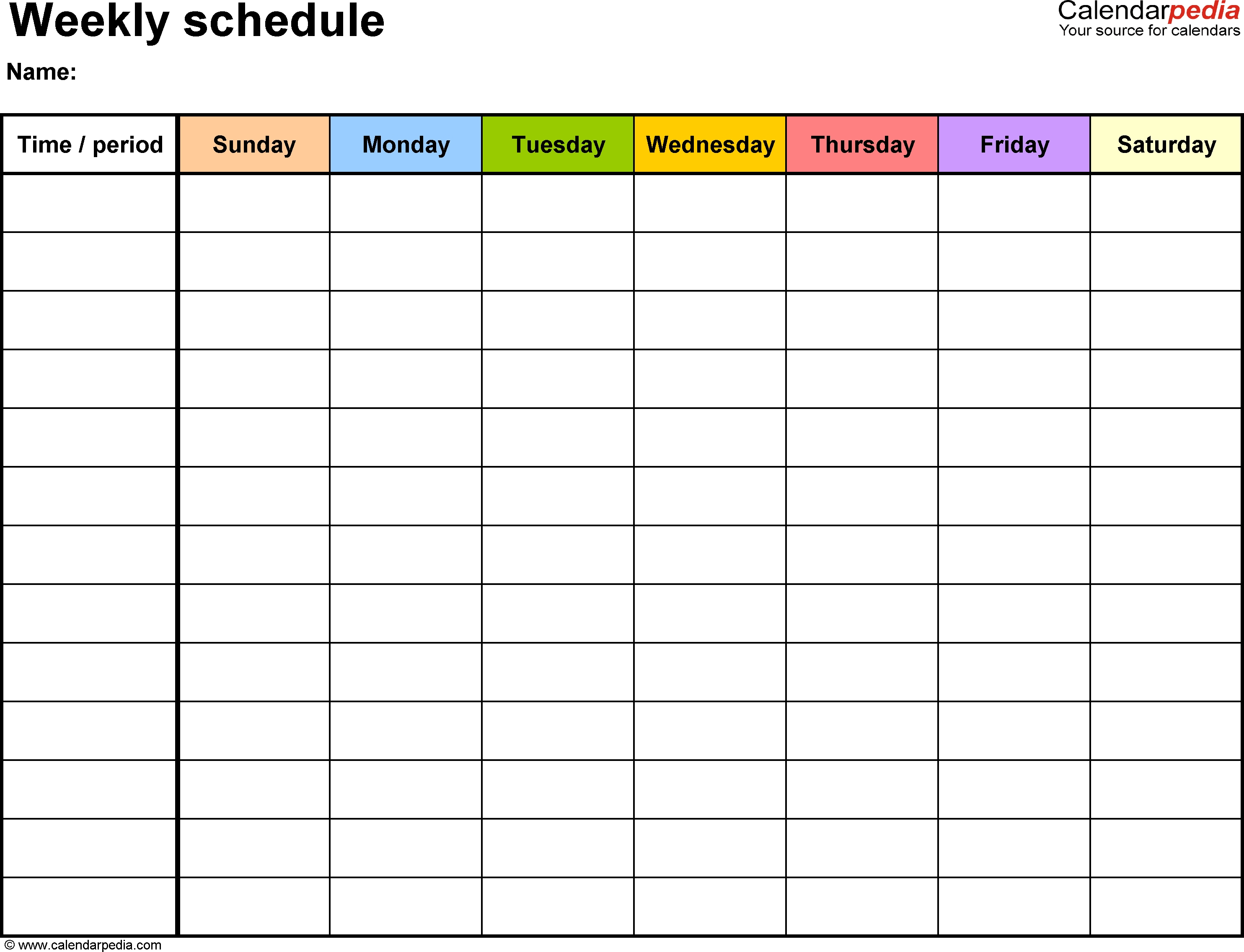 Weekly Schedule Template For Word Version 13 Landscape 1 Page  Xjb
