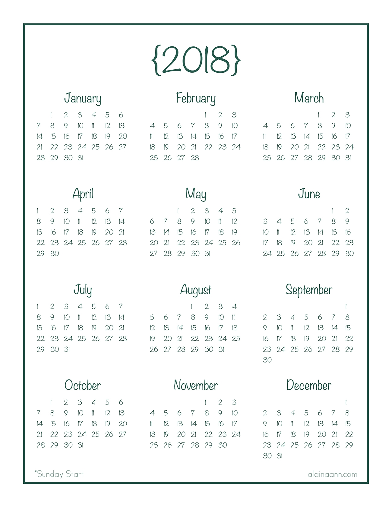 Year At A Glance Calendar Free Printable Alaina Ann