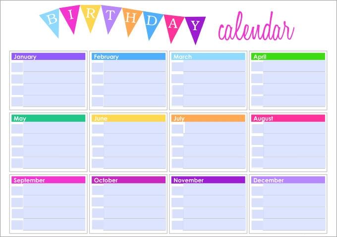 Yearly Birthday Calendar Calendar Printable Free