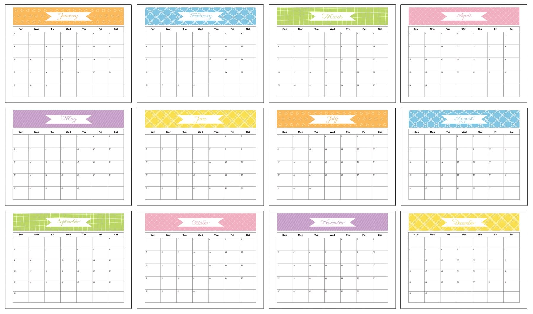 Yearly Calendar With Space To Write Calendar Template 2018