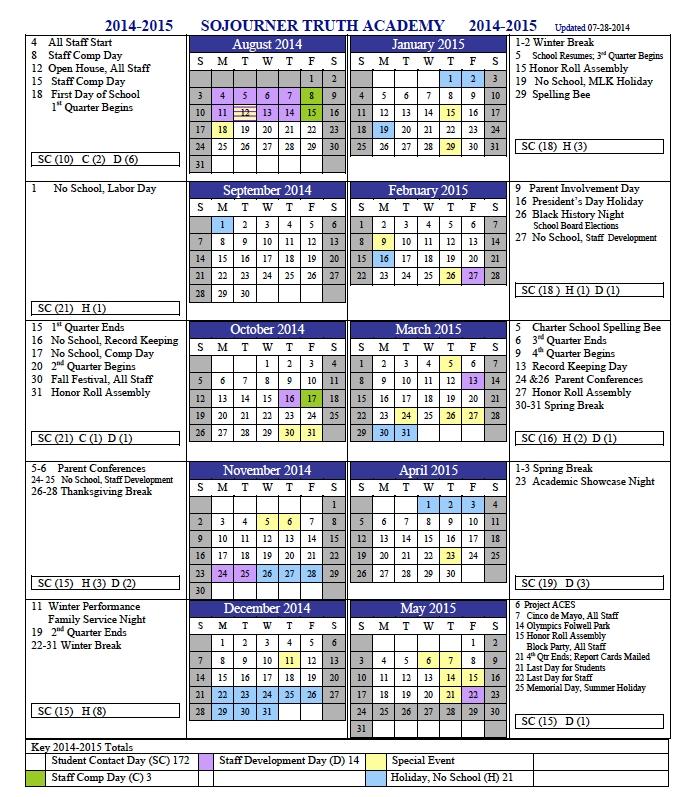 2014 2015 School Calendar Sojourner Truth Academy