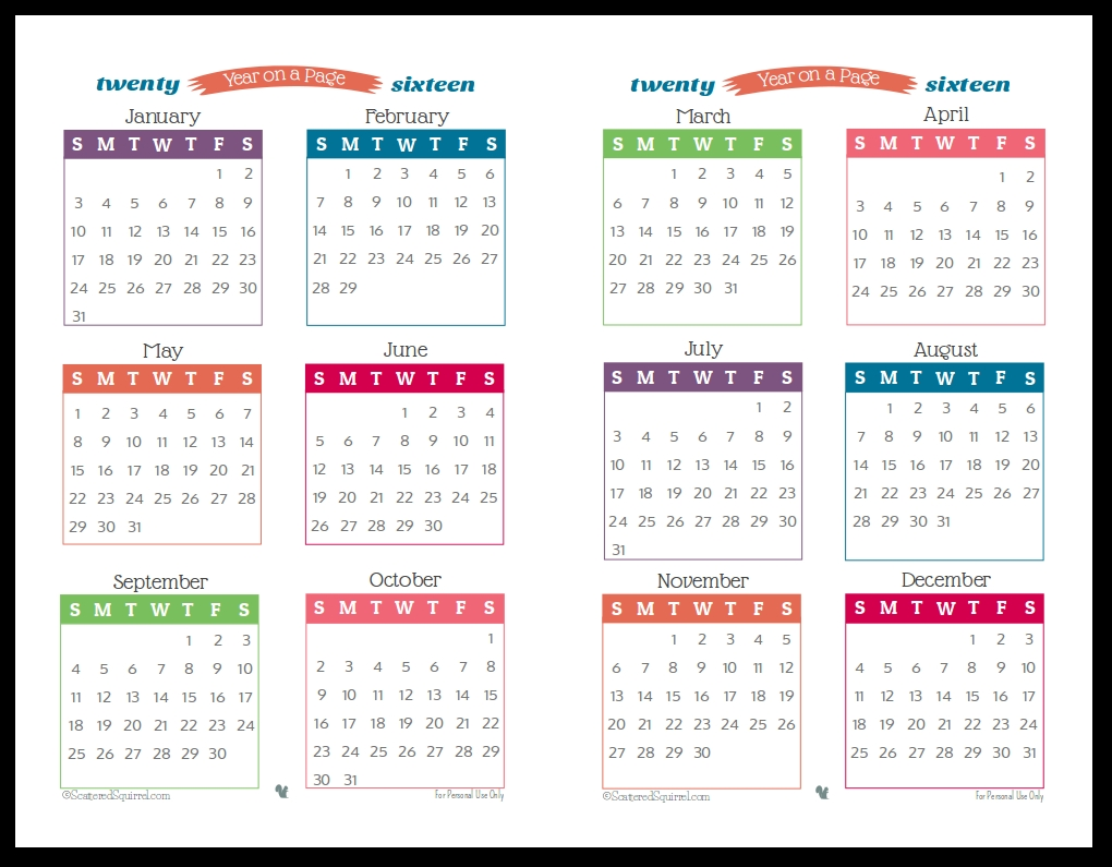 2016 Year On Page Printable Calendars Are Here Planners3abry