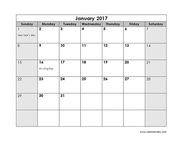 2017 Monthly Calendar Free Printable Templates