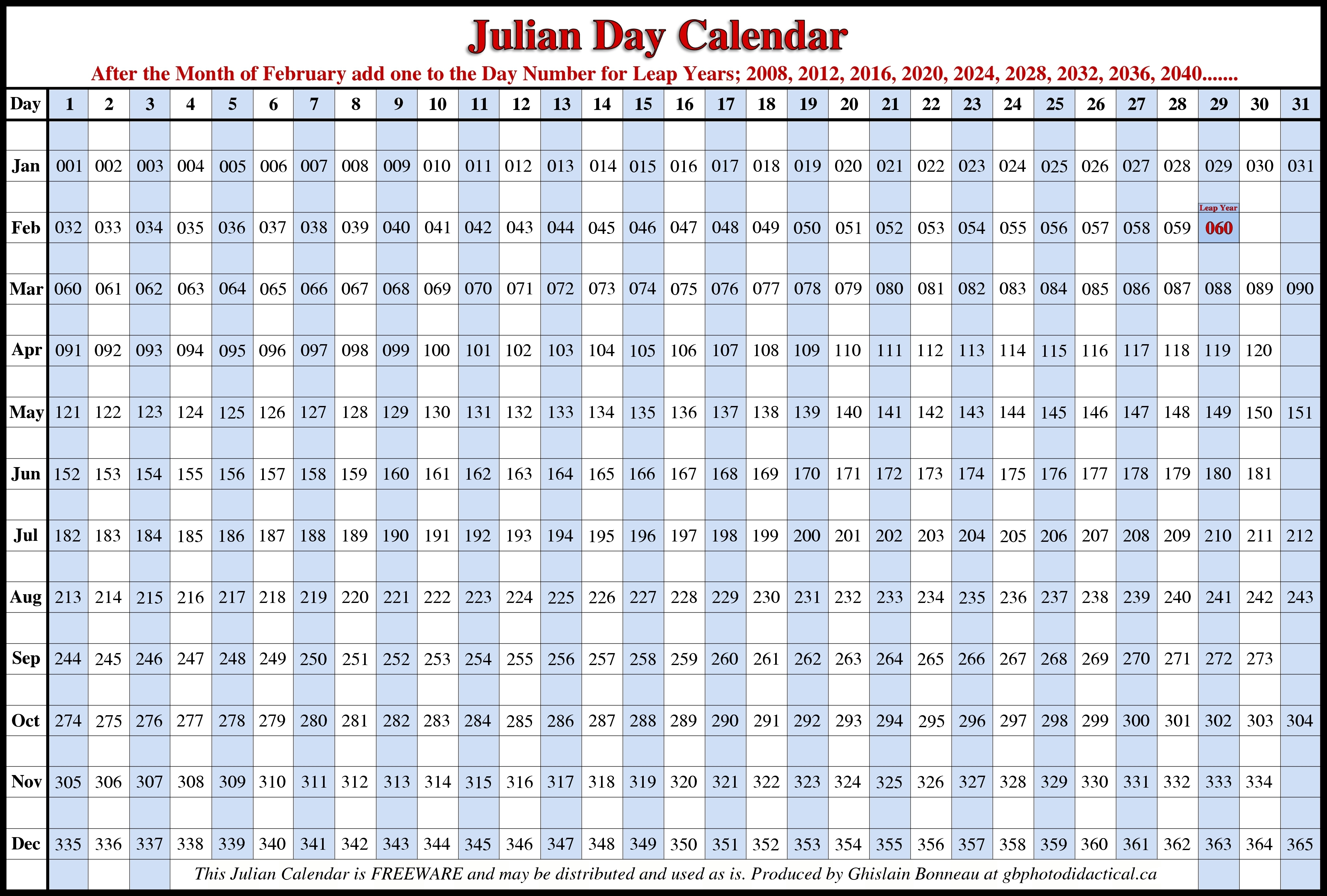 2018 Calendar With Julian Dates Seven Photo