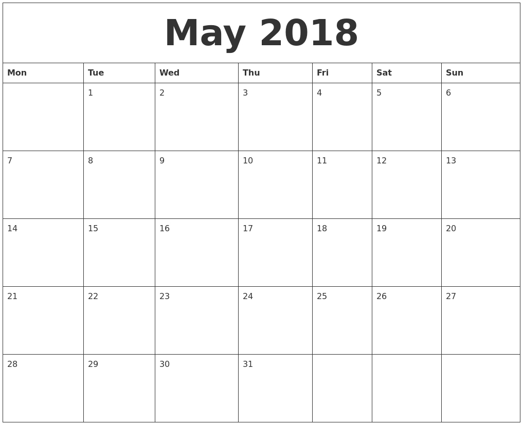 May Calendar Starting With Monday