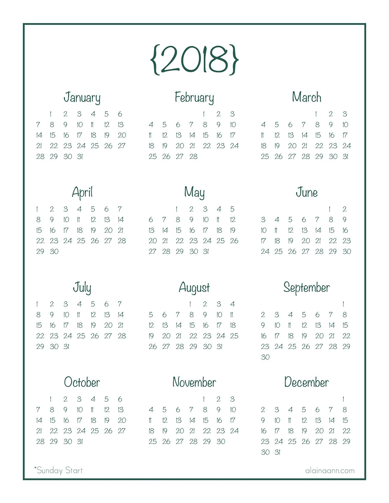 2018 Year At A Glance Calendar Free Printable Plannerjournal