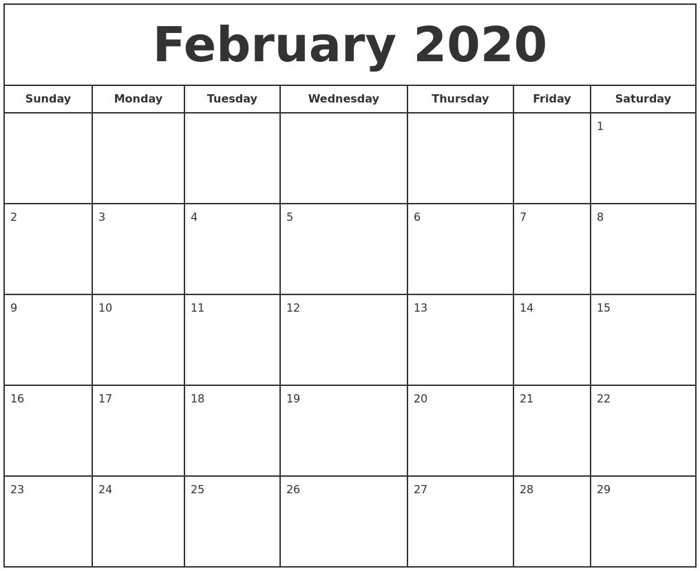 2020 Print Free Calendar
