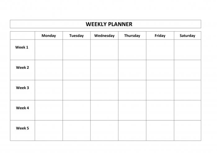 4 Week Blank Calendar Template Calendar Printable Template
