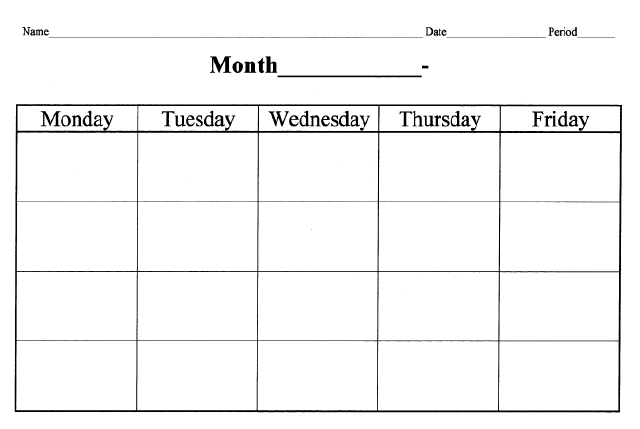 4 Week Schedule Template Savebtsaco
