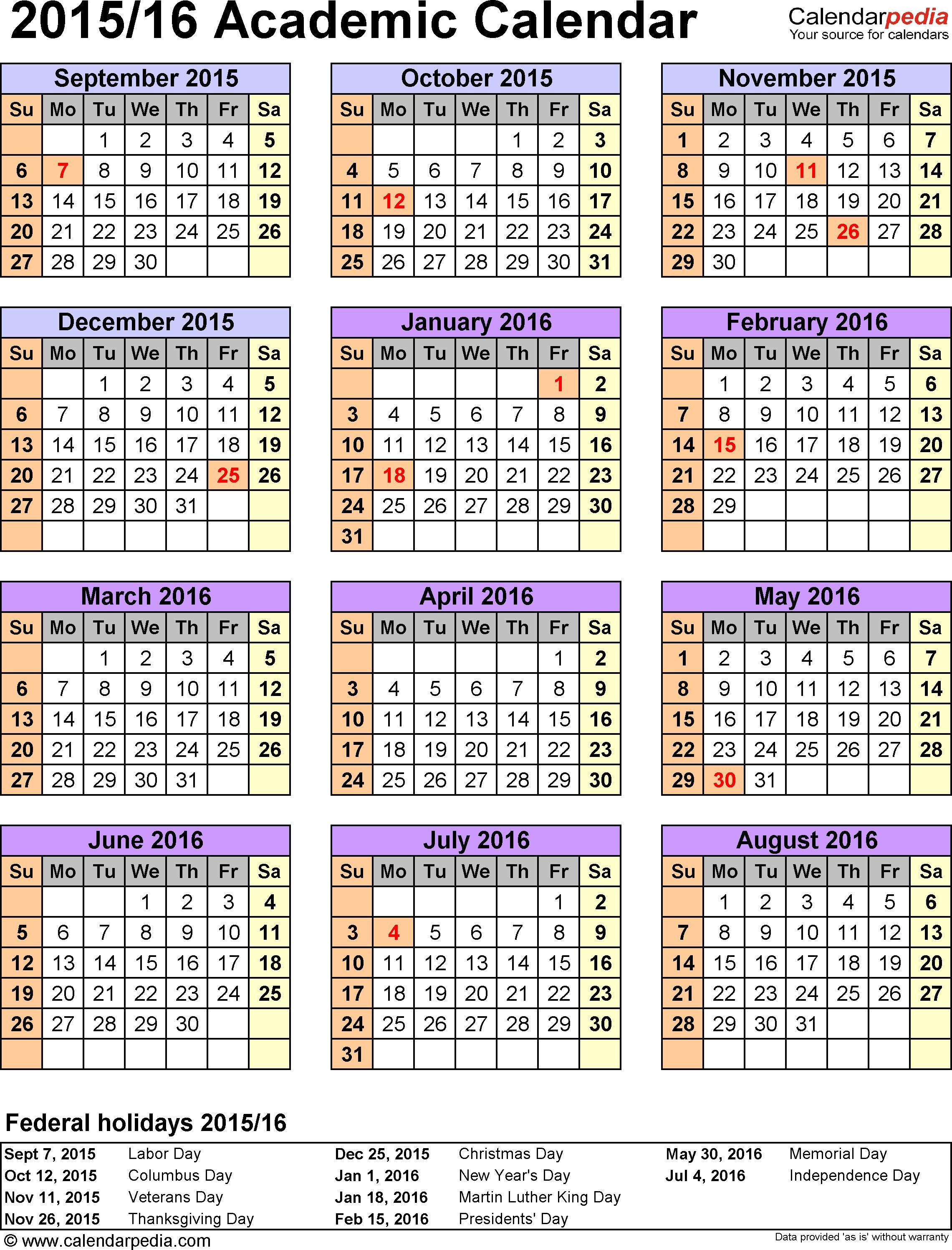 Academic Calendars 20152016 As Free Printable Pdf Templates