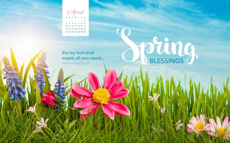 April 2016 Spring Blessings Desktop Calendar Free April Wallpaper  Xjb