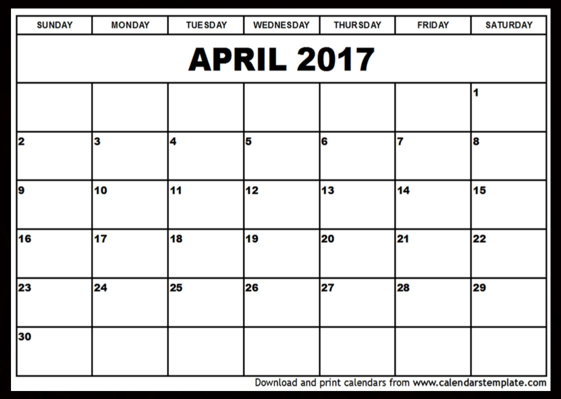April 2017 Calendar April 2017 Calendar Pinterest 2017