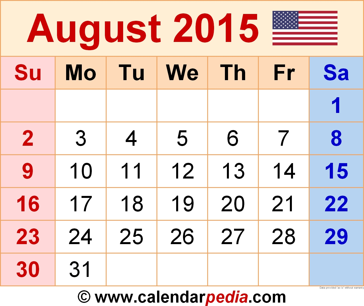 August 2015 Calendars For Word Excel Pdf  Xjb