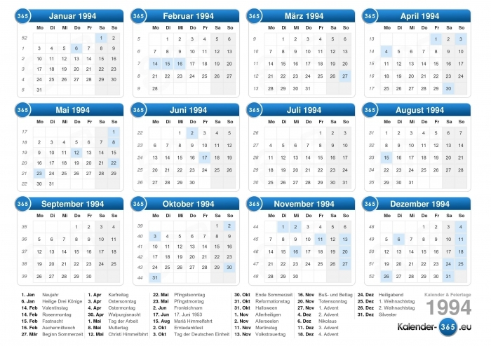 August 21 1994 Calendar Calendar Printable Template
