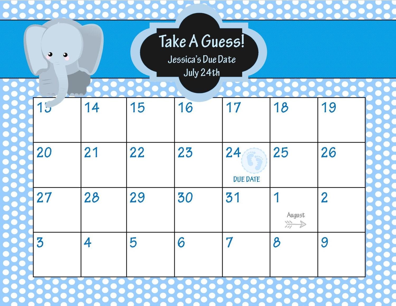 Ba Due Date Pool Template Printable Calendar Template 2017 Free3abry