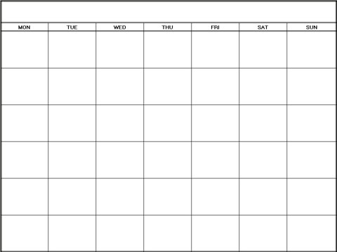 Blank Calendar Monthly Template 6