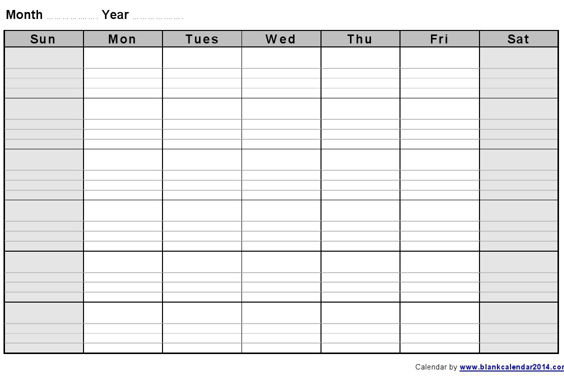 Blank Monthly Calendar Template Printable Calendar Templates 2018