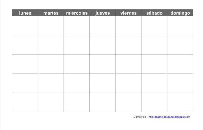Blank Spanish Calendar Arends Producties