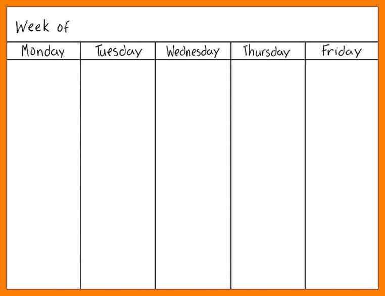 Blank Weekly Calendar One Week Template Templates Printable Rnfqjn