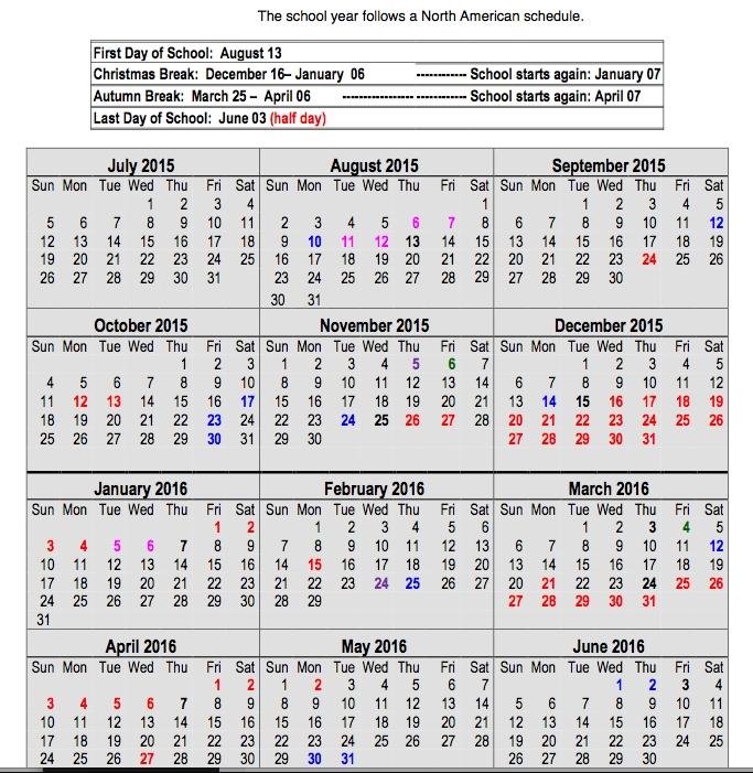 Calendar 2015 16 North American International School