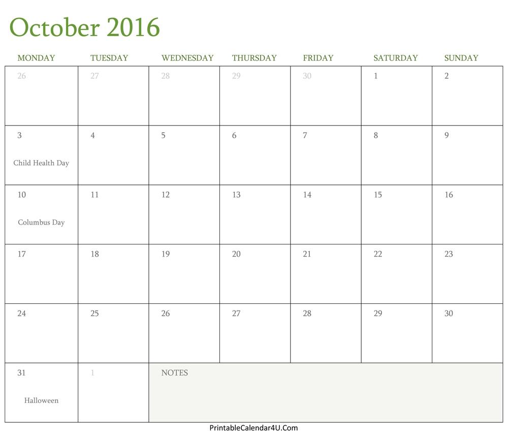 Calendar October 2016 Editable Template Word Pdf  Xjb