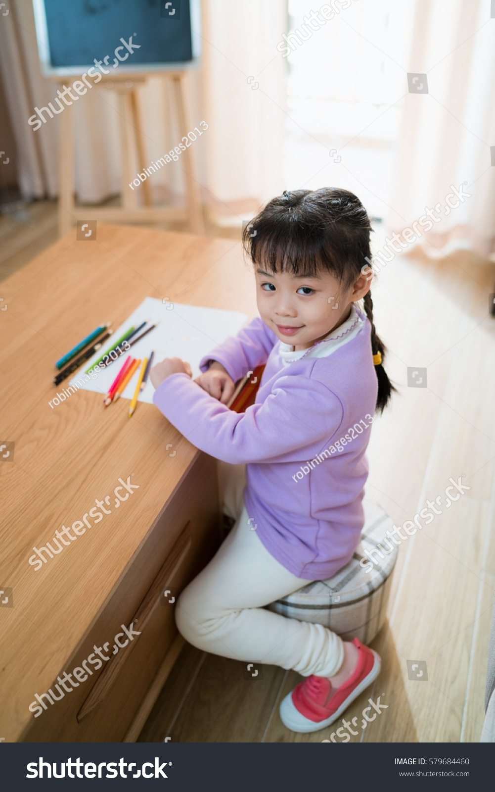Chinese Little Girl Learn Draw On Stock Photo 579684460 Shutterstock