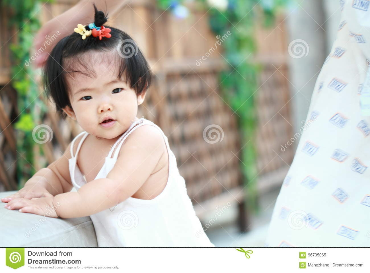 Cute Chinese Ba Girl Learn How To Walk Stock Image Image Of Cute