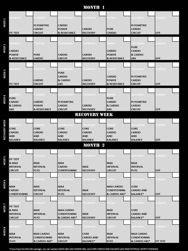Day 4 Insanity Workout Schedule Workout Schedule And Workout