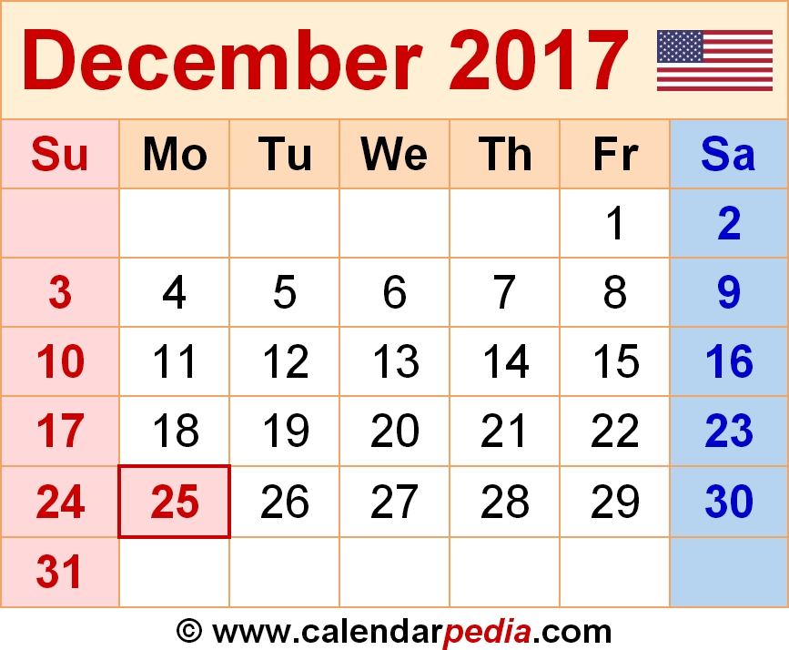 December 2017 Calendars For Word Excel Pdf