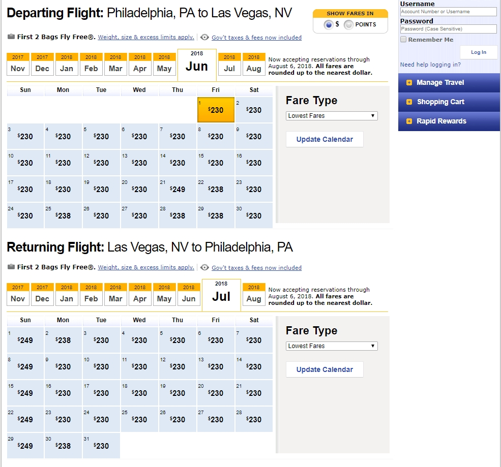 Finding Low Fares On Southwest Airlines Travelzork