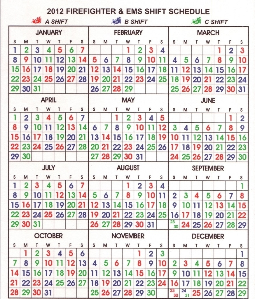Fire Department Shift Calendar Your Template Firefighter 24  Xjb