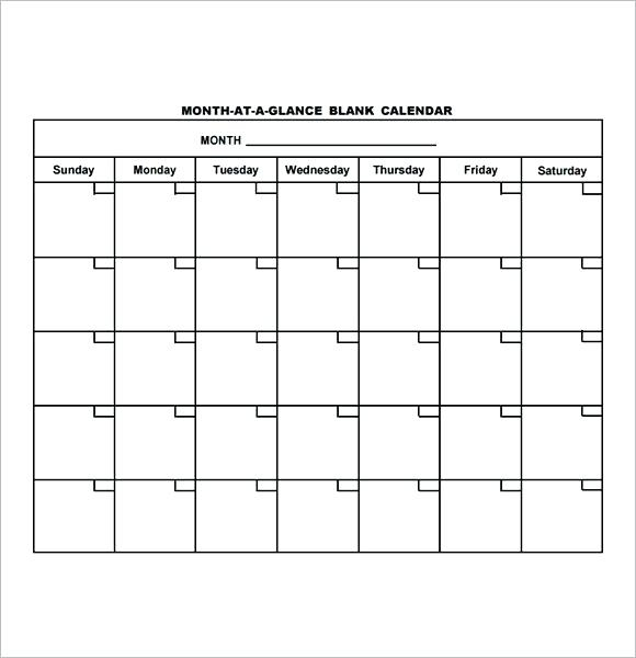 Free Blank Calendar Month At A Glance Blank Calendar Template With
