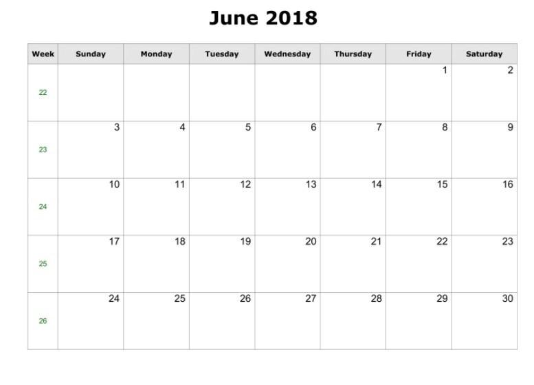 Free June 2018 Calendar In Printable Format Templates Calendar Office