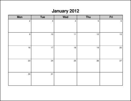 Free Monday Through Friday Calendar Template Calendar Template 2018
