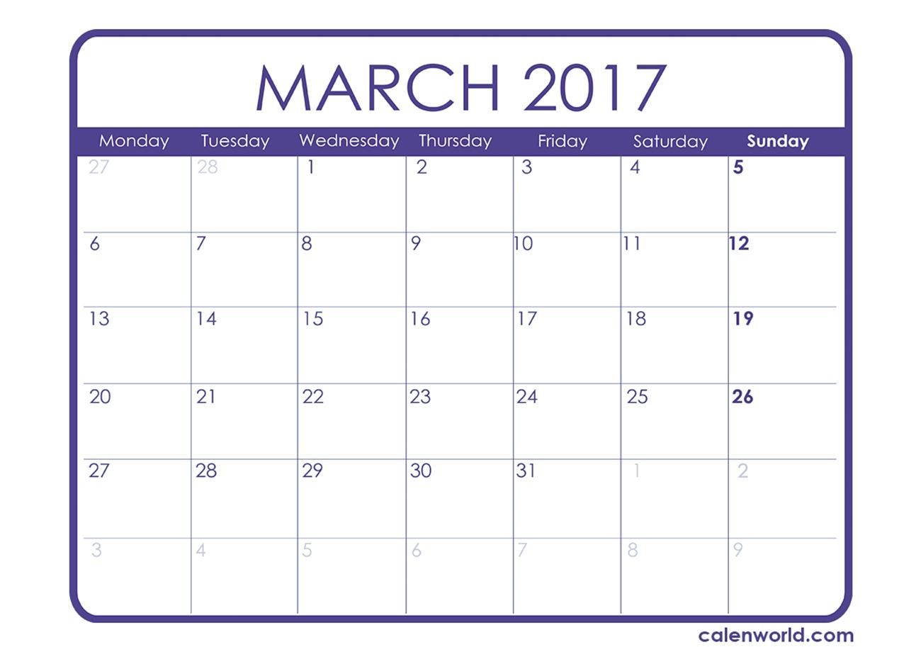 Free Moon Month Calendar For Kids Calendar Template 20173abry