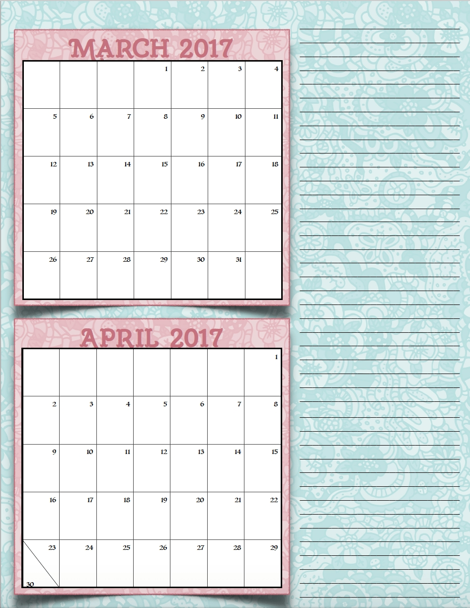 Free Printable 2017 Bimonthly Calendars 7 Different Designs The  Xjb