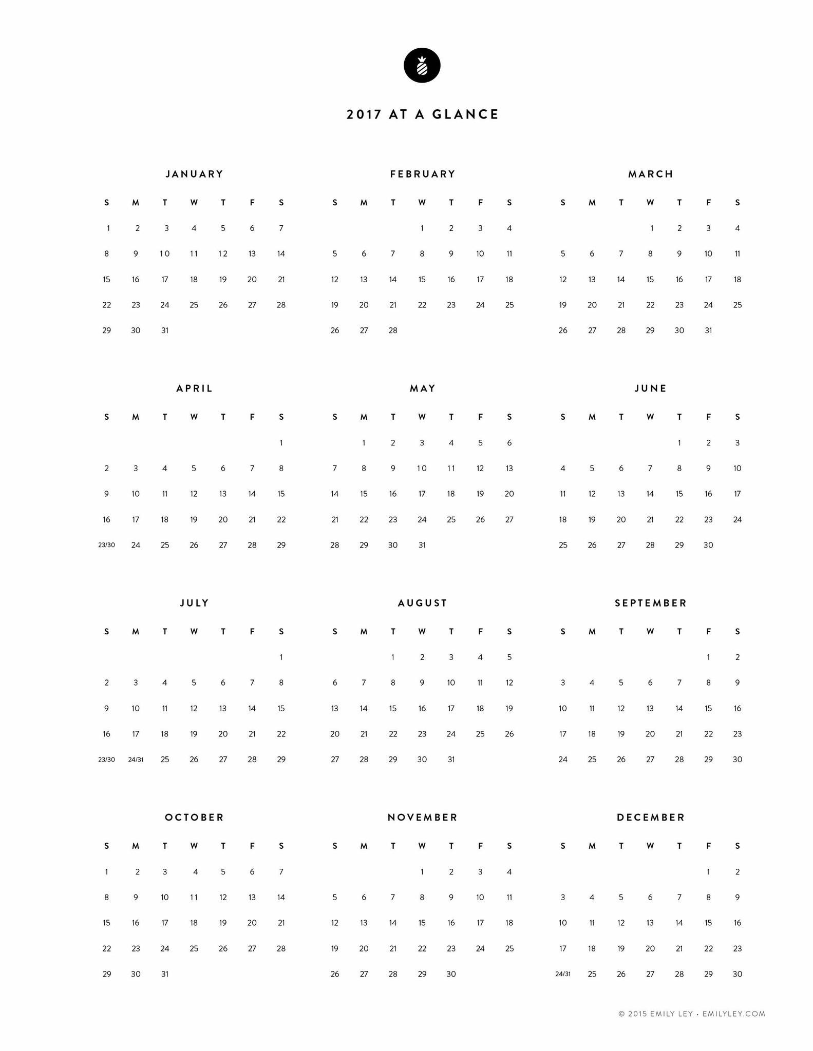 Free Printable 2017 Yearly Calendar Emily Ley Calendars