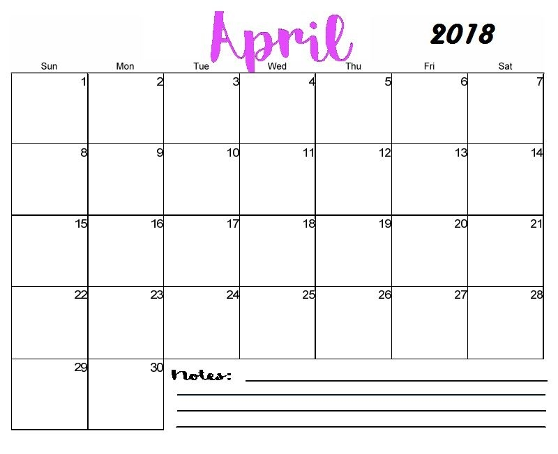 Free Printable Blank April Calendar 2018 Maxcalendars Pinterest
