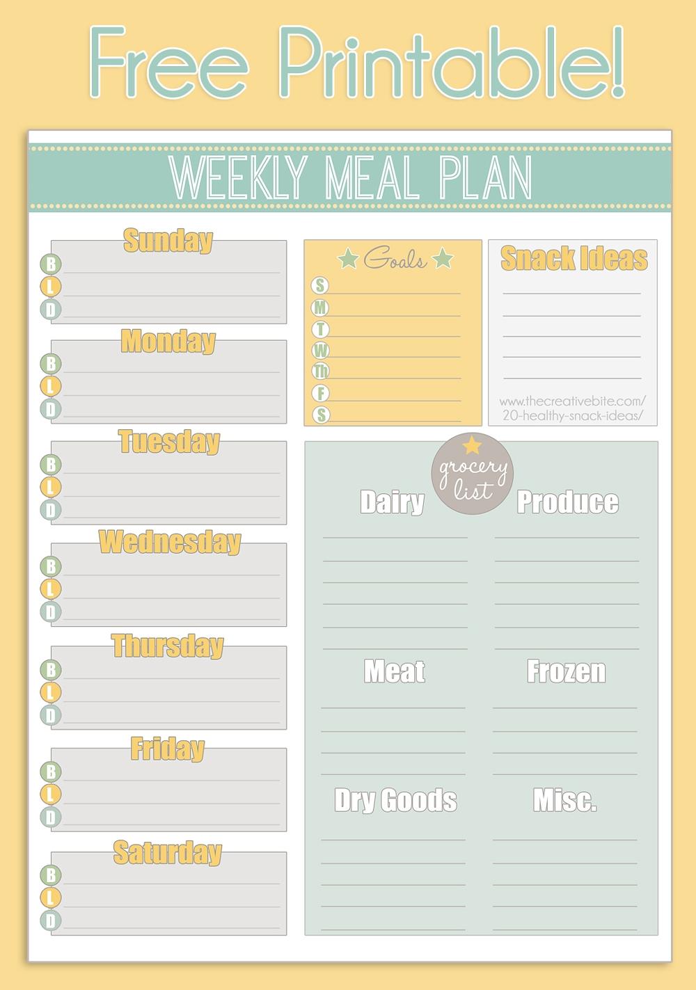 Free Printable Weekly Meal Planner Calendar3abry