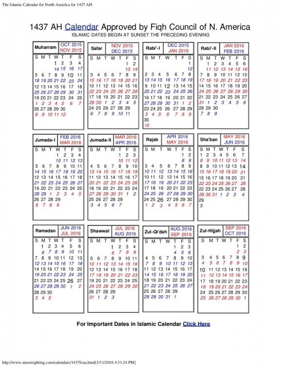 Islamic Calendar North America Calendar Printable Template