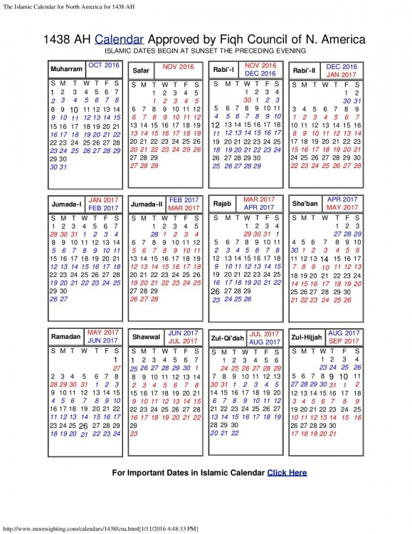 Islamic Calendar Of North America Calendar Printable Template