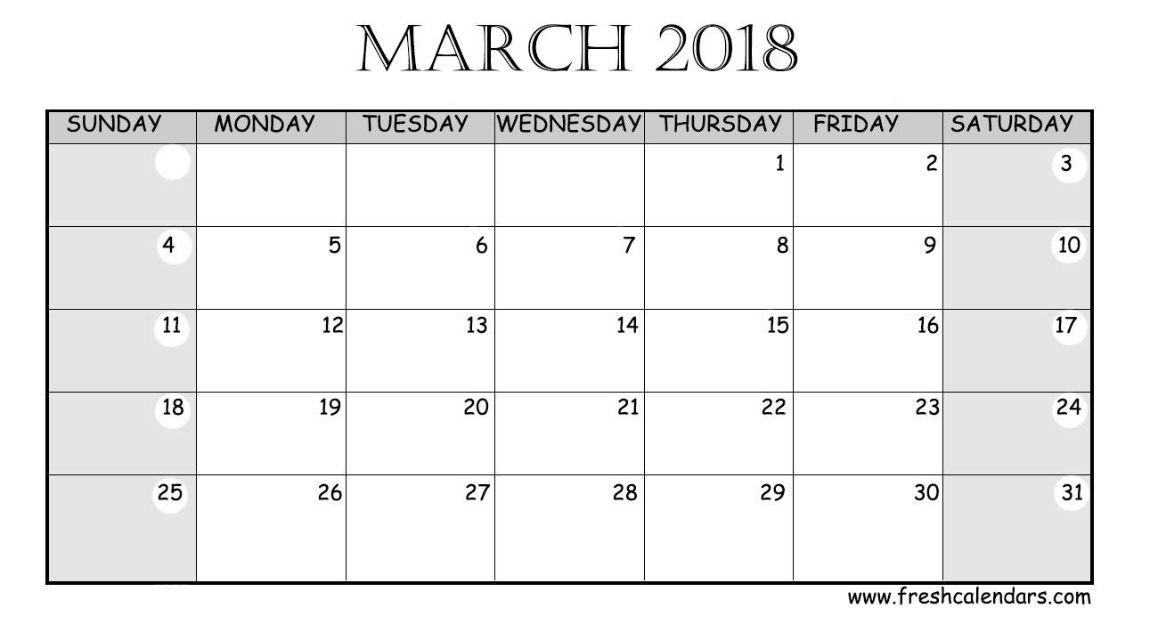 March 2018 Printable Calendar Templates  Xjb